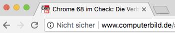 Beispiel für die Browserwarnung in Chrome vor unverschlüsselten Seiten.