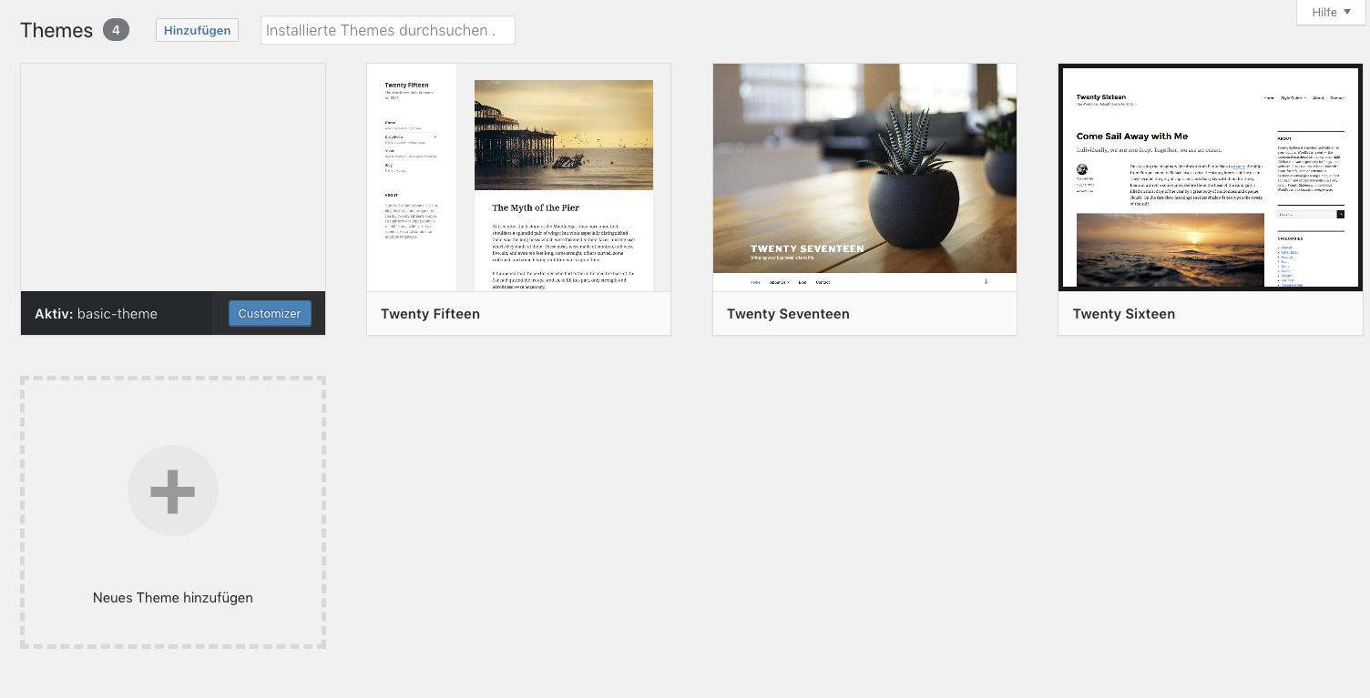 Screenshot des Themeauswahlfensters in WordPress