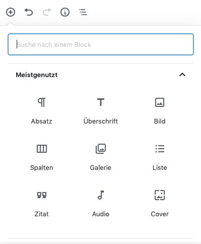 Übersicht (Screenshot) der derzeit als meistgenutzt angezeigten Optionen des Gutenberg Editors