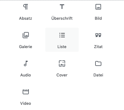 Screenshot der Auswahlmaske der Allgemeinen Blöcke des Gutenberg Editors