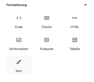 Screenshot der Auswahlmaske der Formatierungsoptionen