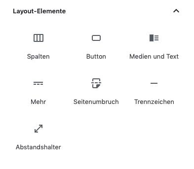 Screenshot der Auswahlmaske der Layoutelemente des Gutenberg Editors