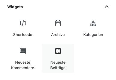 Screenshot der Auswahlmaske der Widgets des Gutenberg Editors