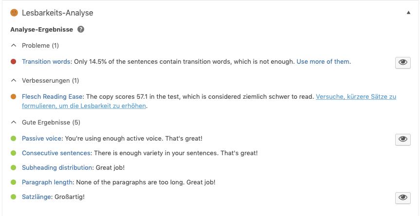 Screenshot der Lesbarkeit-Analyse von Yoast