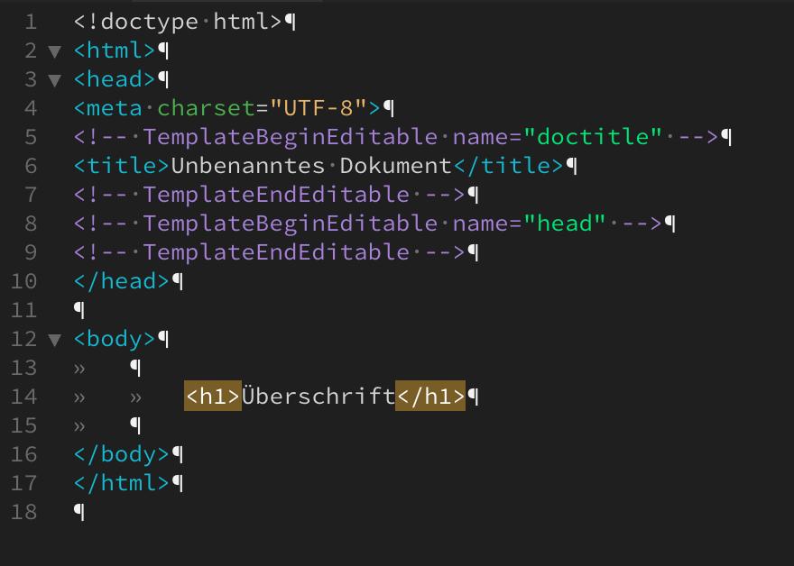 Screenshot eines simplen HTML Codes